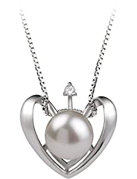 Heart 9-10mm AA Quality Freshwater 925 Sterling Silver Cultured Pearl Pendant