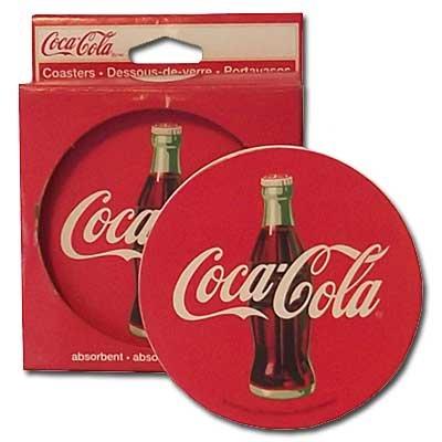 Red Disc Coca-Cola Stone Coasters Set 4