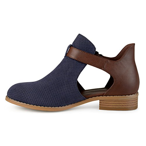 Side Collection Stacked Womens Collection Booties Navy Zip Journee Heel Womens Stacked Journee Zip Side T5wxfA5pq