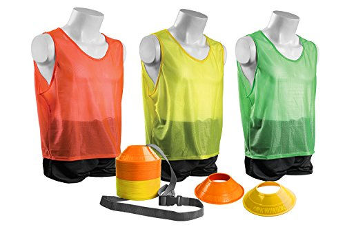 (Kwik Goal Mini Cone and Vest Pack (24 Vests/50 Cones), Youth, Yellow/Orange/Green)