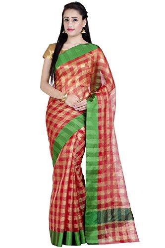 (Chandrakala Women's Maroon Kota check Cotton Banarasi Saree,Free Size(1273MAR))