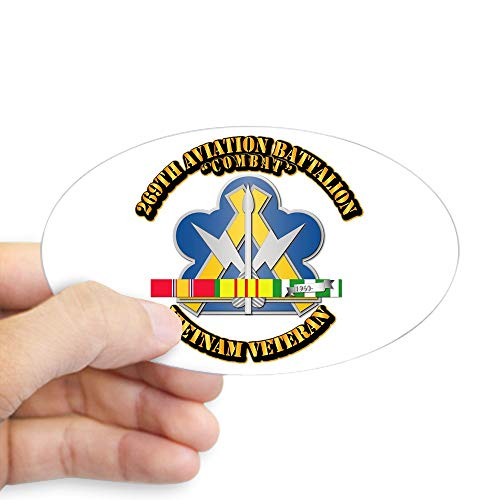 (CafePress Army 269Th Aviation Bn V2 W SVC Ribbon Sticker (Oval Bumper Sticker, Euro Oval Car Decal)