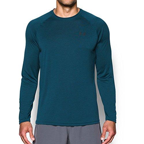 (Under Armour Men's Tech Patterned Long Sleeve T-Shirt,True Ink (918)/Anthracite, Medium )