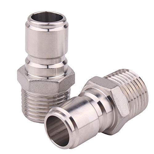 Dernord Stainless Steel Male Quick Disconnect MPT 1/2 Homebrewing Connector Sanitary Fitting Pack of 2