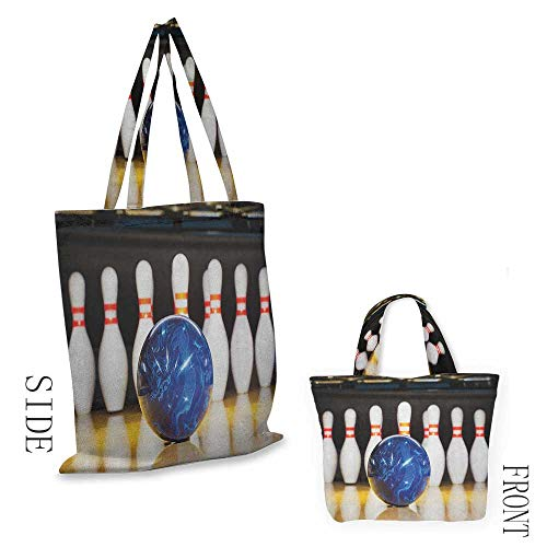 "Canvas bag Bowling PartyBlue Abstract Ball on the Lane Pins Close Up View Sports Leisure Time Game Multicolor18""W x - Bowling Bag Ny Giants"