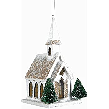 Glitter Church Christmas Ornament, Vintage Style