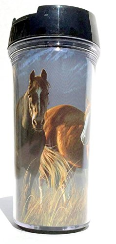 Horses and Mountains Travel Coffee Mug, 16 Ounce, Screw Lid and Flip-Up Top