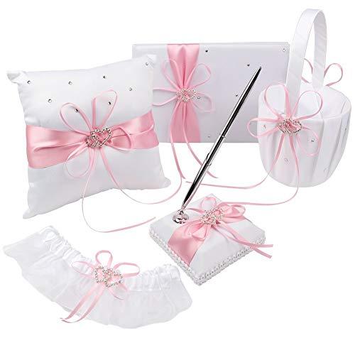 KANECH 5pcs Sets-Pink Satin-Wedding Flower Girl Basket and Ring Bearer Pillow Set (Ring Pillow + Flower Girl Basket + Wedding Guest Book +Pen Set + Garter Cover)