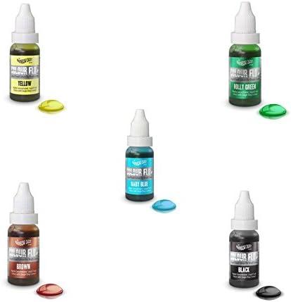 RAINBOW DUST PACK COLOR FLO - 5 X Colorantes líquido alimentario muy concentrado (Amarillo, verde, azul baby, marrón y negro)