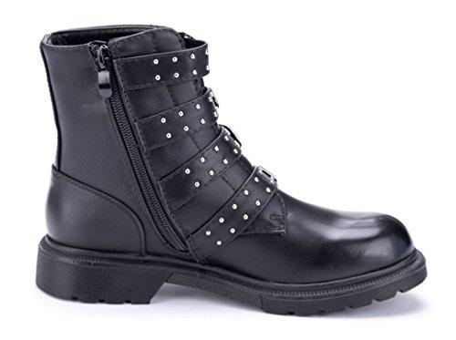 9c206e9246065d ... Schuhtempel24 Damen Schuhe Boots Stiefel Stiefeletten Blockabsatz  Schnalle Nieten 3 cm Schwarz ...