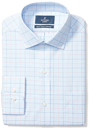 BUTTONED DOWN Men's Classic Fit Spread-Collar Pattern Non-Iron Dress Shirt, Blue/Orange Tattersall Check, 18.5