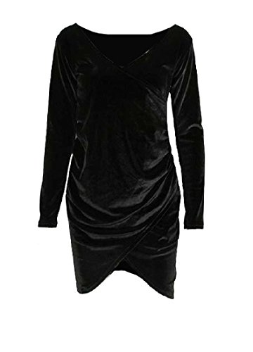 Women's Slim Dress Fit Bodycon Black Long Velvet Sleeve Cross Gold Comfy HRdqxwR