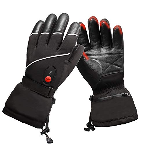 SVSPT Heated Gloves Electric Hand Warmer with Rechargeable Powered Li-ion Battery up to 6 Hours, Snow Winter Warm for Outdoor Cycling, Motorcycle, Hiking, Snowboarding, Battery for Men and Women (S)