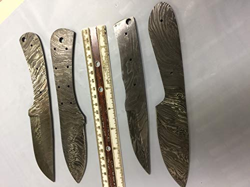 - 4 Pieces Set of 8 and 9 inches Long Hand Forged Damascus Steel Blank Blade Skinning Knife Set, 3 to 4 inches Cutting Edge, Compact Pocket Knife Blanks