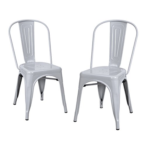 Joveco Sheet Metal Frame Tolix Style Stackable Bistro Cafe Bar Chairs with Back - Set of 2 (Light Grey) Wholesale Price
