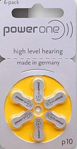 Power One Zinc Air Hearing Aid Batteries, (Yellow), P10, 180 Count ()