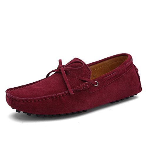 Sunrolan Darnell Heren Suede Leren Strik Accent Moccasins Casual Stijl Western Penny Loafers Wijnrood