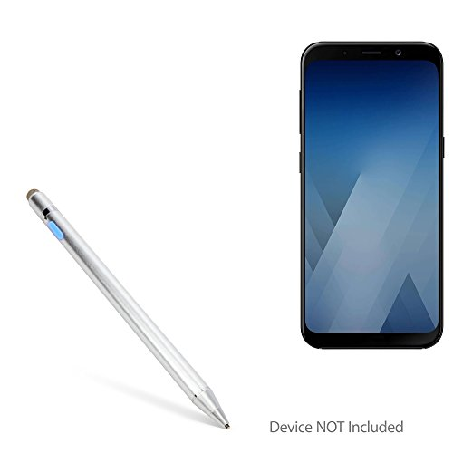 Samsung Galaxy A8 (2018) Stylus Pen, BoxWave [AccuPoint Active Stylus] Electronic Stylus with Ultra Fine Tip for Samsung Galaxy A8 (2018) - Metallic Silver by BoxWave