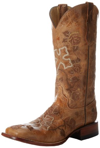 Ferrini Women's Distressed Floral Cross Western Boot