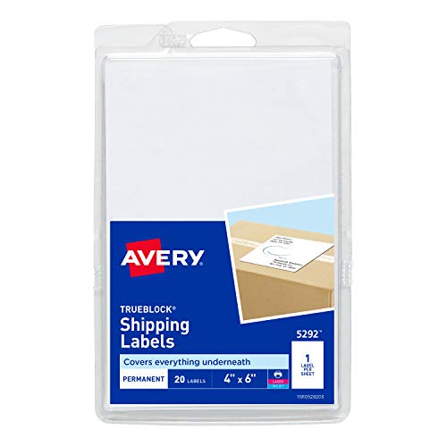 - Avery Shipping Labels with TrueBlock Technology, 4 x 6, Pack of 20 (5292)