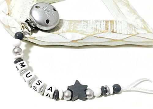 Stern B005 Schnullerkette mit Namen silber Junge wei/ß grau Kleiner Prinz