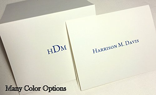 Name Personalized Note Card Stationery - Personalized Thank You Note Cards Stationery with Envelopes. Set of 20 Cards and Matching Envelopes. Add Any Full Name(s) or Initials. Many Font Colors!