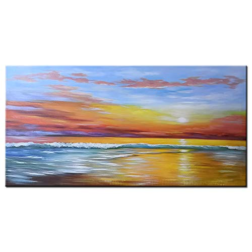 (Gincleey Paintings -24x48 Inch Hand-Painted Sunset Canvas Paintings Sea Wall Art Framed Landscape Abstract Painting Home Wall Picture for Living Room Bathroom)
