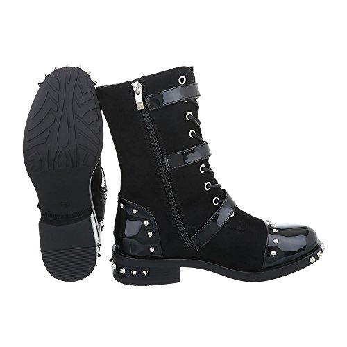 Zapatos para mujer Botas Tacón ancho Botines camperos Ital-Design Negro