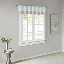 "Amherst Polyoni Pintuck Teal Gray Window Valance , Modern Rod Pocket Valances for Windows , 50X18"" , Aqua"
