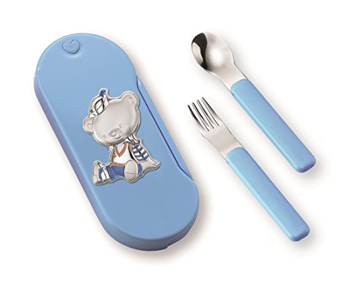 Silver Touch USA Sterling Silver Bear Utensil Set, BLUE by Silver Touch USA