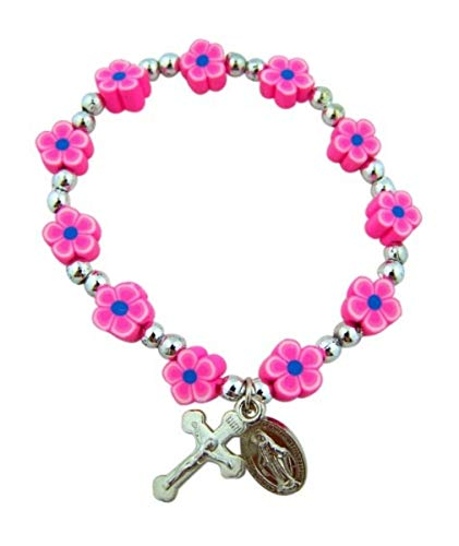 Pink Flower Shape Prayer Bead Rosary Miraculous Medal Charm Bracelet for Girls