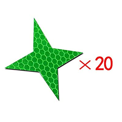 20x High Intensity Grade Reflective Safety Warning Tapes Stickers Self-Adhesive for Car Truck Motorcycle Bike Trailer Camper Helmet Fence Bags Four-Pointed Star Shape Green: Automotive