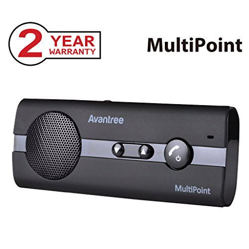 Avantree 10BP MULTIPOINT Bluetooth V4.0 Hands-Free Visor Car Kit, Support GPS, Music, Wireless in Car Handsfree Speakerphone Compatible with iPhone, Samsung Smartphones