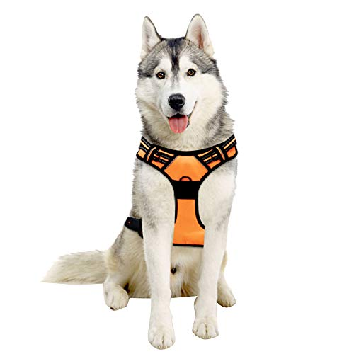 TAIL UP Dog Harness - Adjustable No-Pull Reflective Pet Harness Mesh Vest, Easy On/Off Mesh Harness Small Medium Large Dogs - Easy Control in Walking Hiking Training Medium Orange …