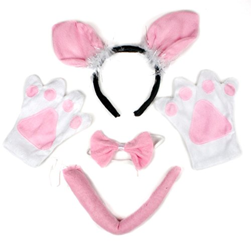 [Petitebella Little Pig Headband Bowtie Tail Gloves Costume Party for Adult (One Size)] (Little Pig Costumes)
