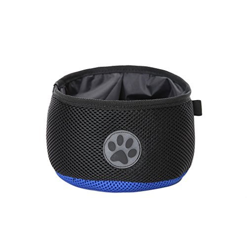 Black Travel Camping Portable Folding Utensils Dog Bowls Eating or Drink Water Double layer waterproof mesh Cloth Pet Supplies Review