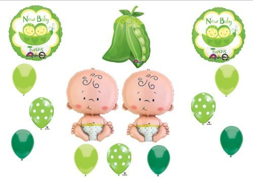 NEW Two Peas in a Pod Twin Baby shower Balloon Decorating Kit Supplies by Anagram (Twins Two Peas Pod)