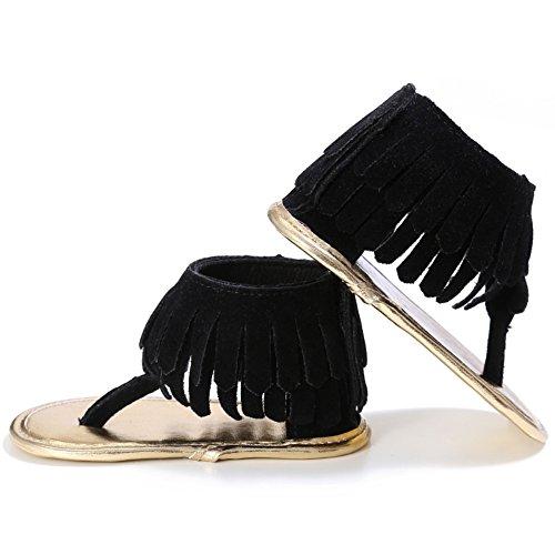 BOBORA Bebe Ninas Sandalias Borla Mate PU Bebes Zapatos De Verano negro