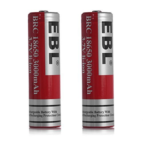 Price comparison product image EBL 18650 3.7V 3000mAh Li-ion Rechargeable Batteries,  2 Pack
