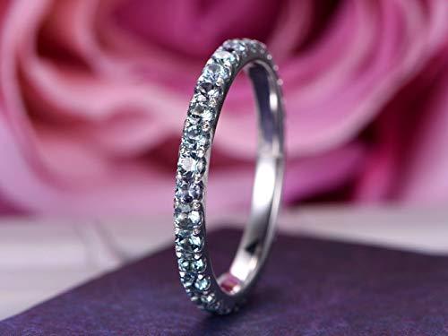 2mm Natural Alexandrite Wedding Band half Eternity Anniversary Ring 14K White Gold ()
