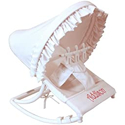 Elegant White Fabric with Scalloped Pique Ruffles Water-Resistant Baby Rocker with Removable Toy Bar 14W x 24D inches