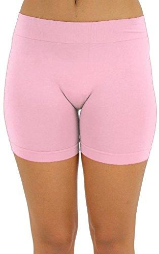 Basic Pink Leggings - M USA Seamless Basic Layering Solid Short Leggings, One Size, Light Pink