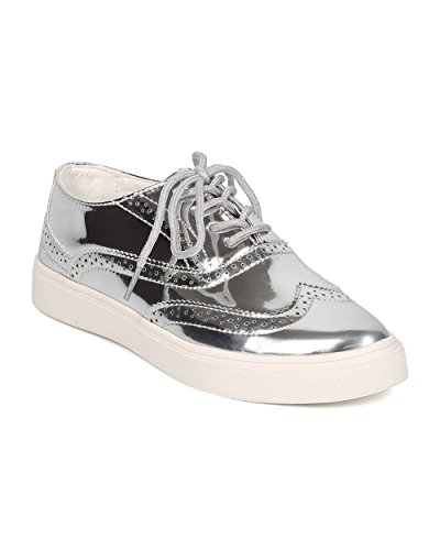 Women Metallic Oxford Sneaker - Casual Versatile Classic - Spectator Sneaker - GH34 By Cape Robbin - Silver (Size 6.0)
