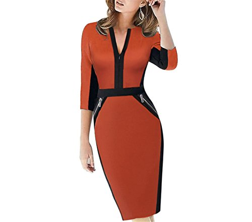 GUNCOI Plus Size Front Zipper Women Work Wear Elegant Stretch Dress Charming Bodycon Pencil Midi Spring Business Casual Dresses 837 Orange L