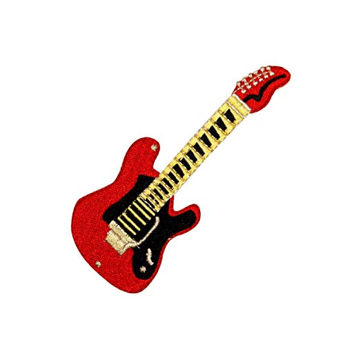 Red Electric Guitar Patch Rock Musical Instrument Embroidered Iron On -