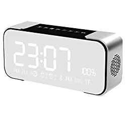 Star Fire Portable Wireless Stereo Bluetooth Speaker with Alarm Clock,Build-in Mic,FM Radio,LED Light,Hands-free,Two Subwoofer Enhanced Bass Surround Sound for iPhone Samsung Computer (Dark Grey)