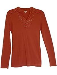 Women's Lightweight Thermal Long Sleeve Henley Top Sweater Rust (S)