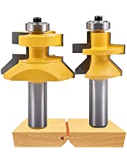 HOHXEN Carbide V-Notch 45 Degree Router Bit 1/2-Inch Shank x 1-1/8-Inch Matched Tongue & Groove