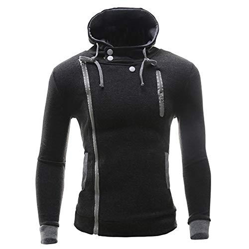 (HULKAY Christmas Men Tops Sale Clearance Long Sleeve Round Neck Button Pure Color Diagonal zipper Pocket Blouse Coats(Dark Gray,2XL))