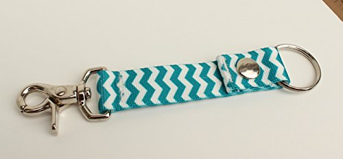 Snap Key Fob (Chevron Blueberry Blue/White Chevron - Handy Clip, Snap, & Ring Style Key Webbing Fob)
